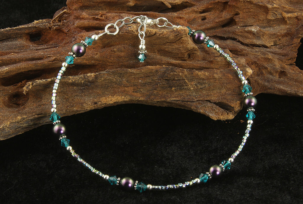 Scarab Teal Green Beaded Anklet