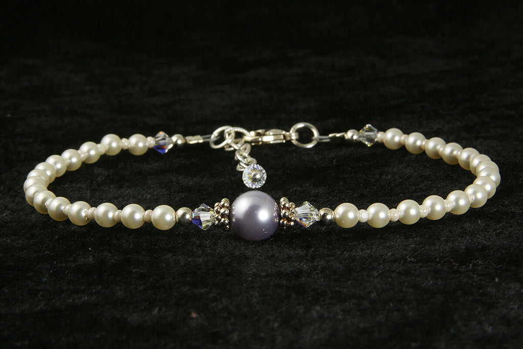 Elegant Purple Pearl Beaded Anklet