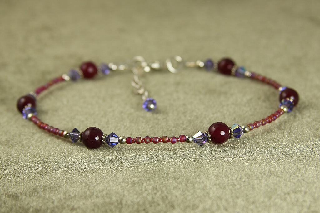 Purple Fire Agate Beaded Anklet
