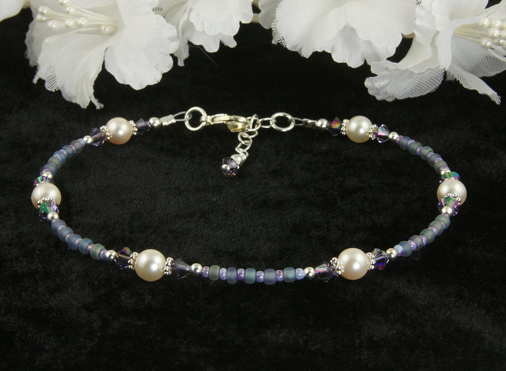 Atlantic Blue Pearl Beaded Anklet