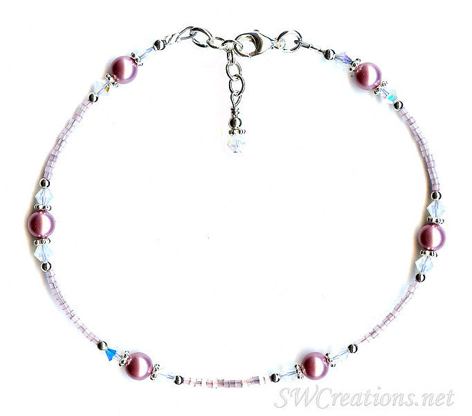 Vintage Rose Opal Crystal Pearl Anklet - SWCreations