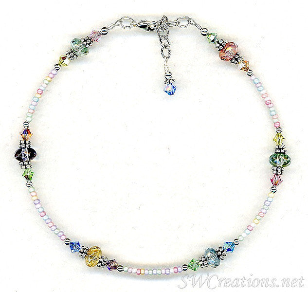 Pastel Czech Crystal Beaded Anklet - SWCreations