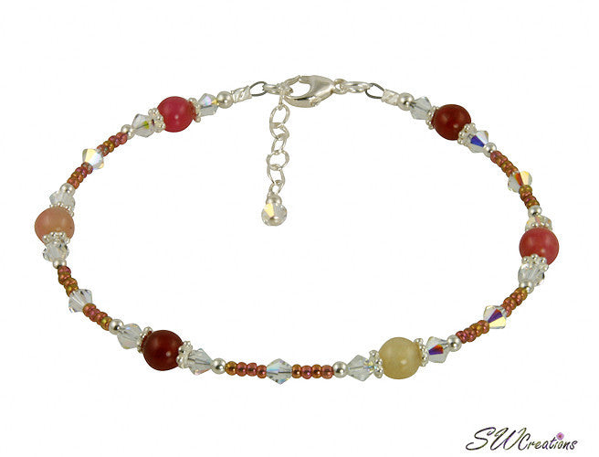 Sunset Jade Gemstone Crystal Beaded Anklet - SWCreations  - 2