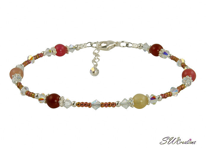 Sunset Jade Gemstone Crystal Beaded Anklet - SWCreations  - 1