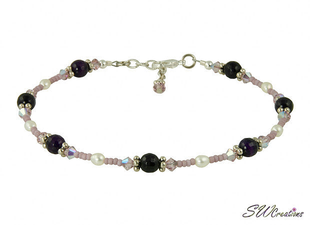 Purple Pearl Agate Gemstone Beaded Anklet - SWCreations