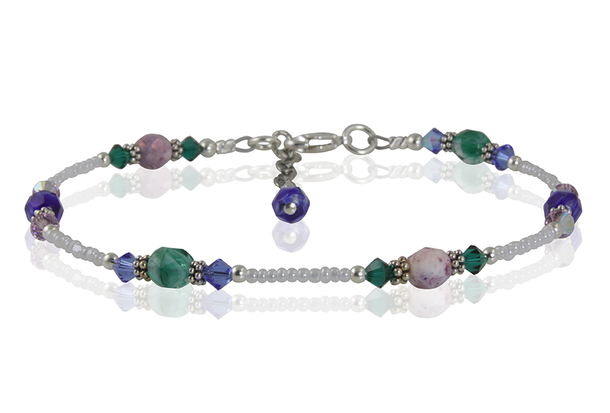 Winter Crystal Bali Beaded Anklet - SWCreations