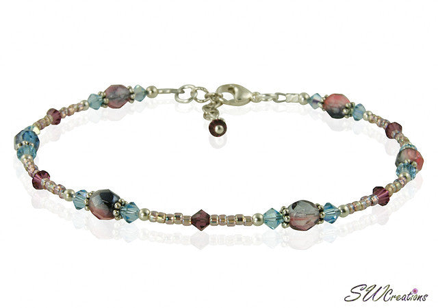 Spring Aqua Purple Crystal Beaded Anklet - SWCreations