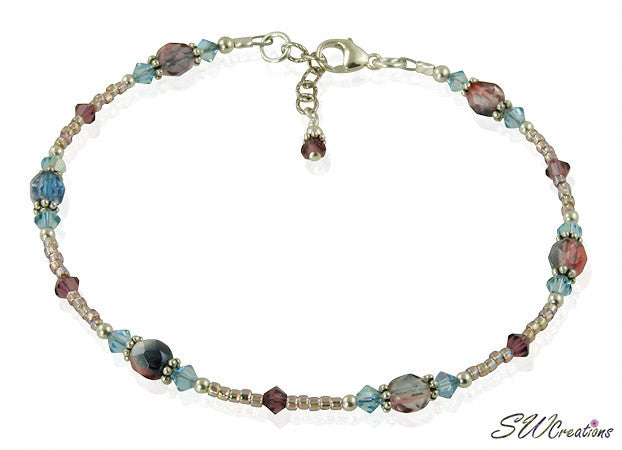 Spring Aqua Purple Crystal Beaded Anklet - SWCreations  - 2