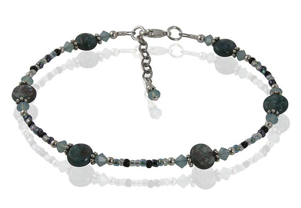 Green Labradorite Gemstone Beaded Anklet - SWCreations