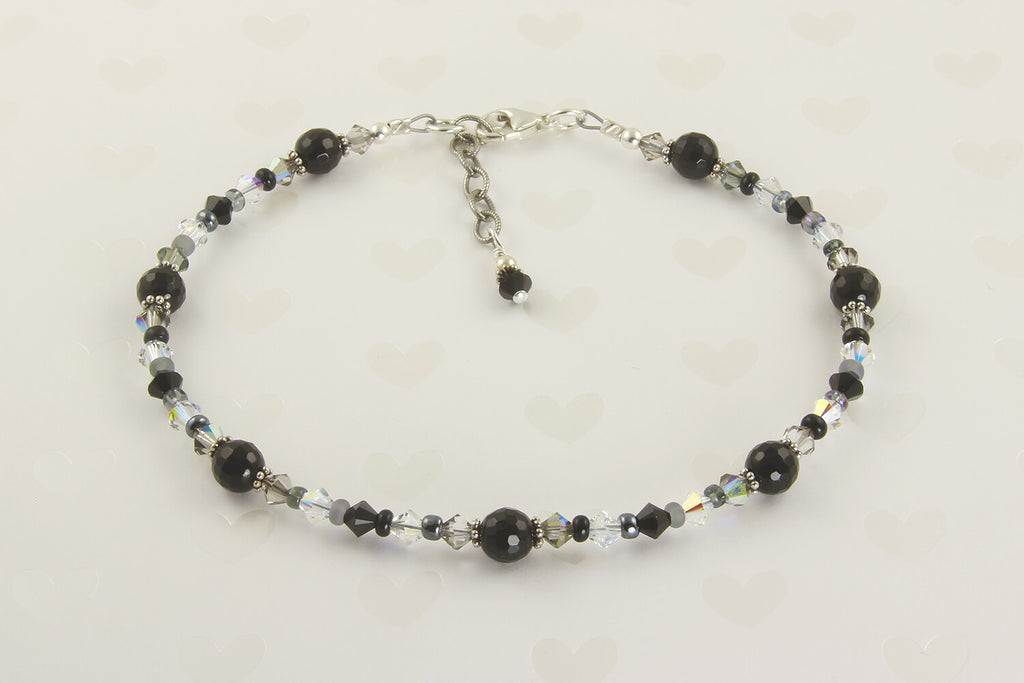 Black Onyx Gemstone Beaded Anklet