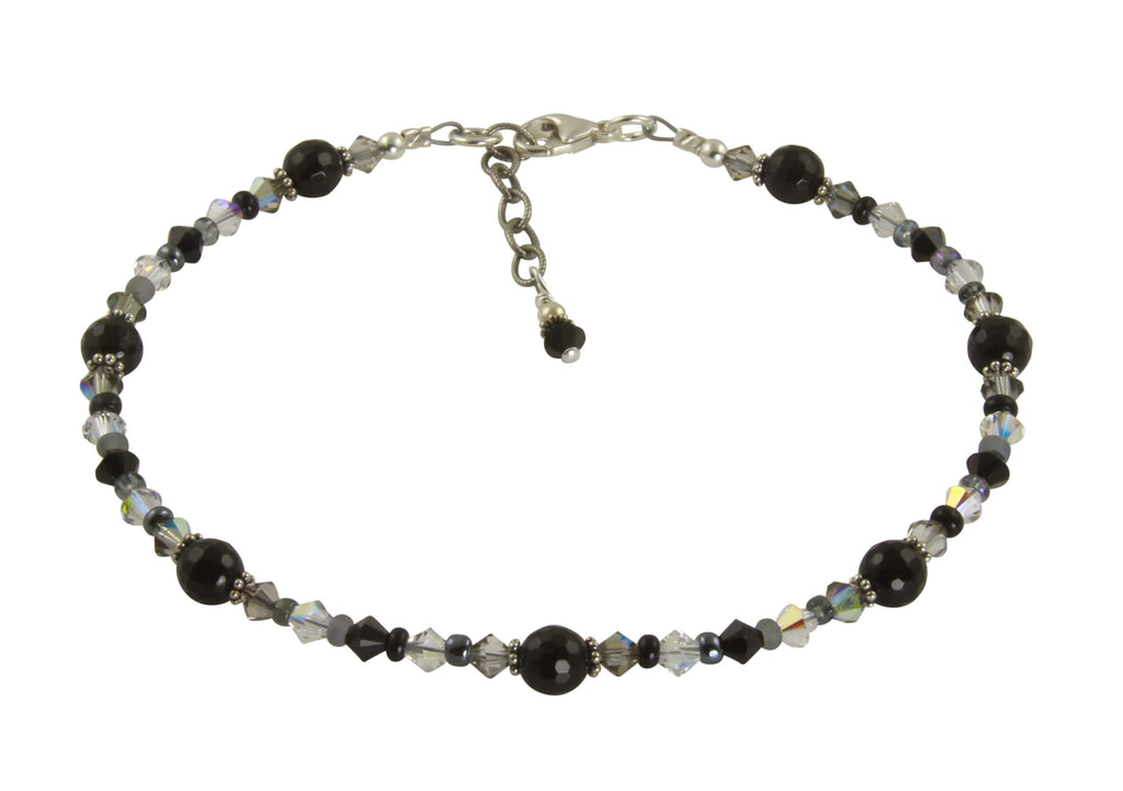 handmade black onyx beaded anklet