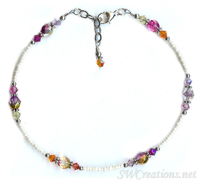Shimmery Sunset Glass Crystal Anklet - SWCreations