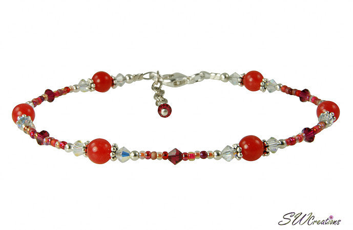 Red Jade Crystal Beaded Anklet - SWCreations
