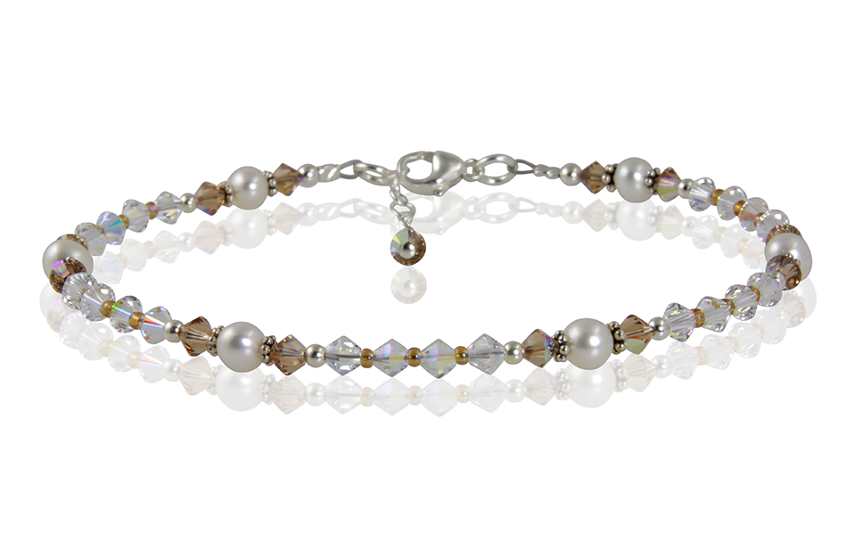 Topaz Crystal Pearl Beaded Anklet - SWCreations
