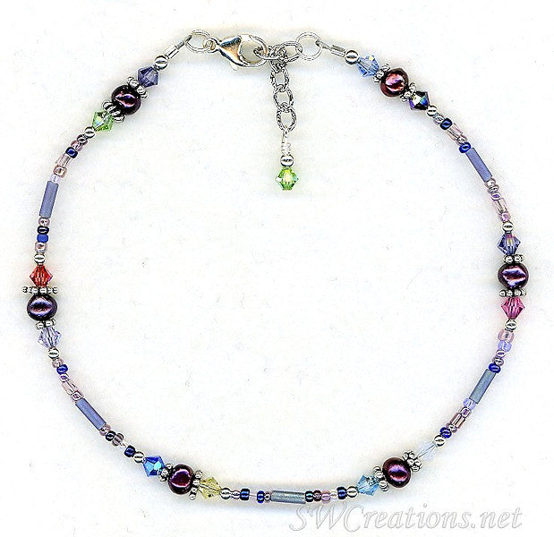 Purple Pearl  Crystal Beaded Anklet - SWCreations