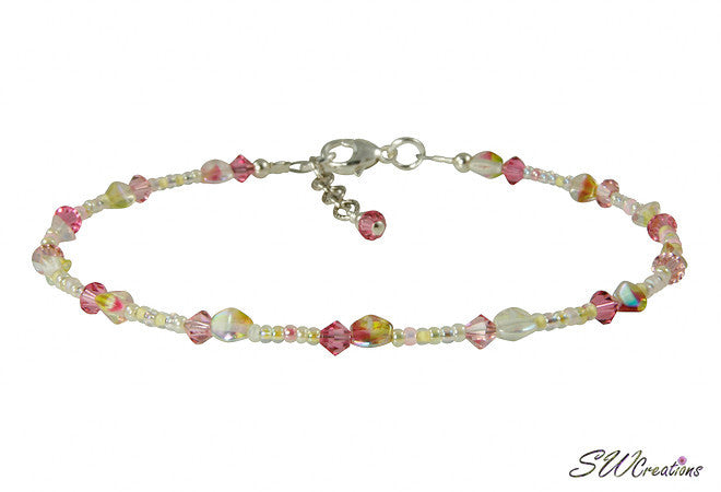 Summer Yellow Hibiscus Beaded Anklet - SWCreations