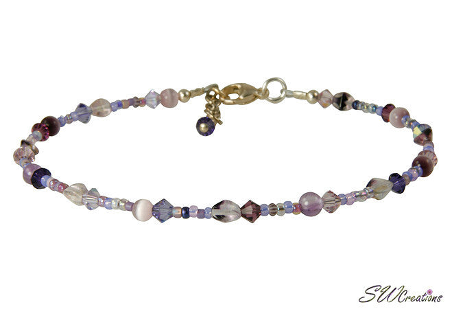 Field of Violets Purple Mix Beaded Anklet - SWCreations
