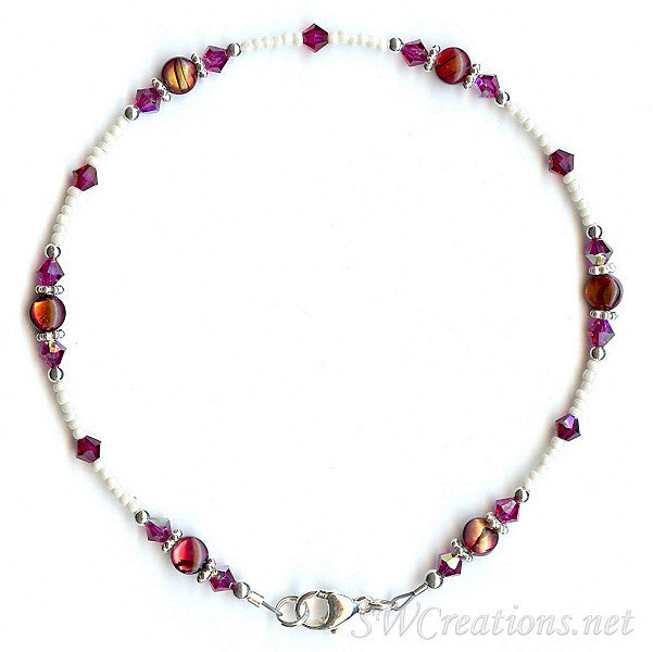 Fuchsia Crystal Abalone Shell Anklet - SWCreations