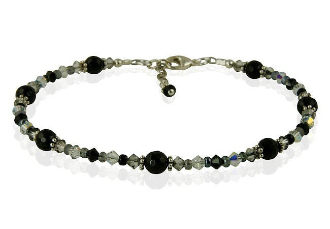 Black Onyx Gemstone Beaded Anklet - SWCreations