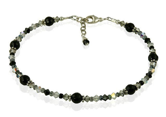 Black Onyx Gemstone Beaded Anklet - SWCreations  - 1
