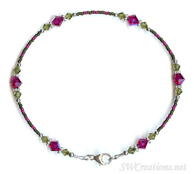 Khaki Fuchsia Persian Crystal Anklet - SWCreations