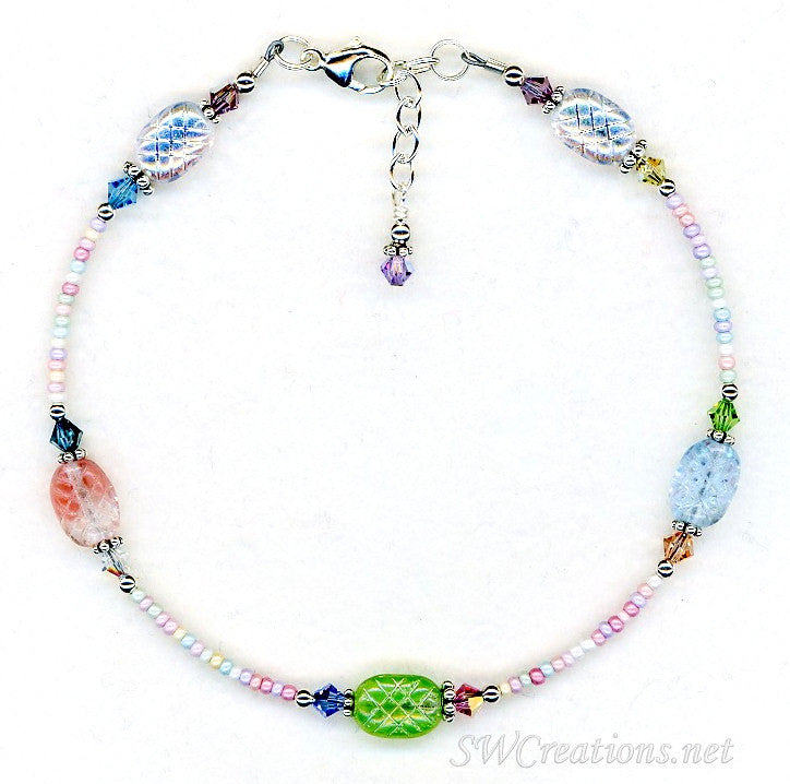 Pastel Glass Crystal Mix Beaded Anklet - SWCreations