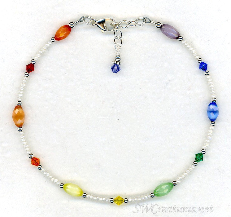 Rainbow Cats Eye Crystal Beaded Anklet - SWCreations