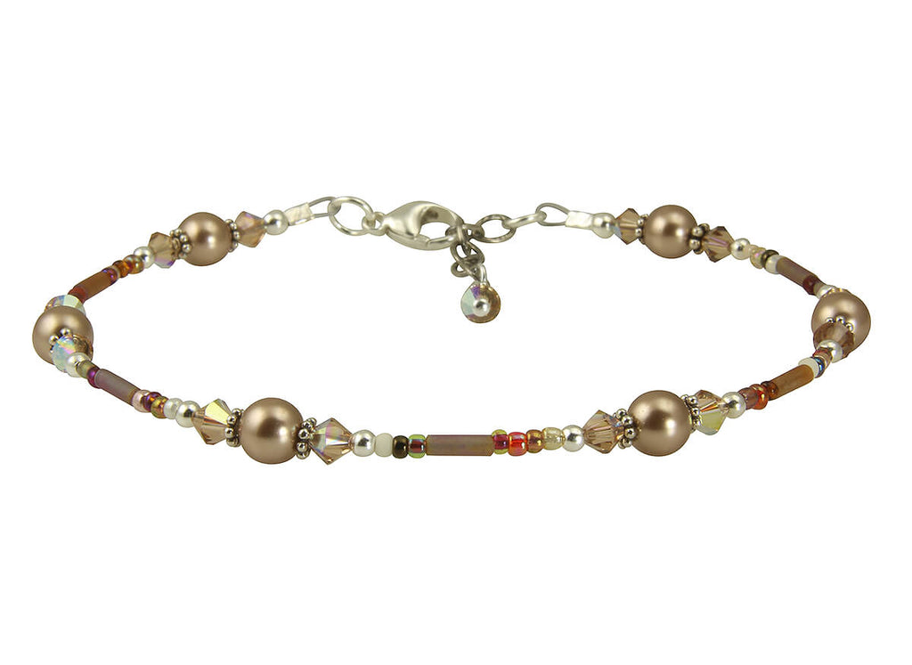 Topaz Almond Pearl Beaded Anklet