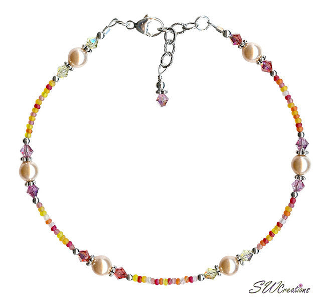 Crystal Hibiscus Pearl Beaded Anklet - SWCreations