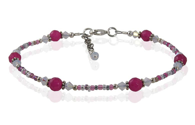 Vivid Pink Opal Gemstone Anklet - SWCreations