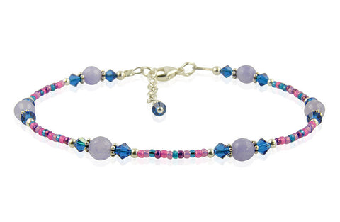 Blue Jade Gemstone Beaded Anklet - SWCreations