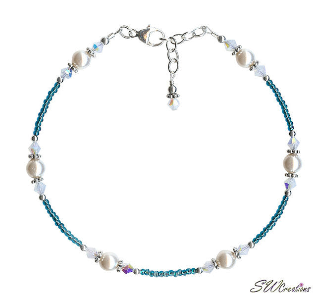 Opal Teal Pearl Bali Beaded Anklet - SWCreations
