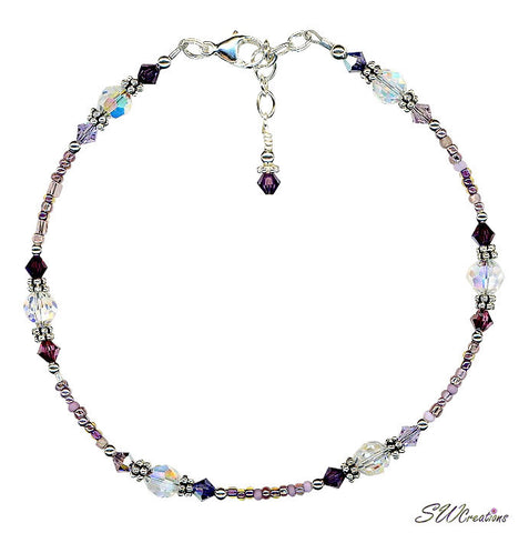 Purple Crystal Silver Beaded Anklet - SWCreations