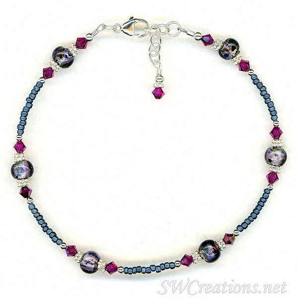 Fuchsia Amethyst Blue Beaded Anklet - SWCreations