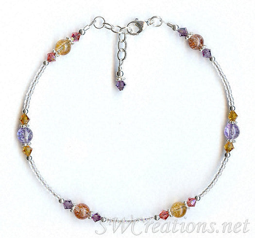 Sunset Crackle Crystal Bali Anklet - SWCreations
