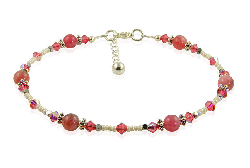 Romantic Pink Jade Gemstone Anklet - SWCreations