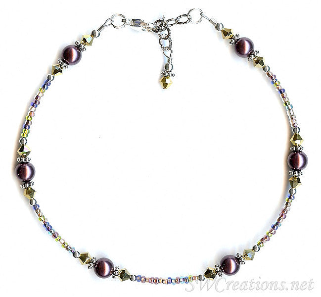 Gold Burgundy Pearl Crystal Silver Anklet - SWCreations