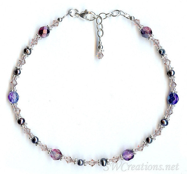 Vintage Rose Mauve Pearl Crystal Anklet - SWCreations
