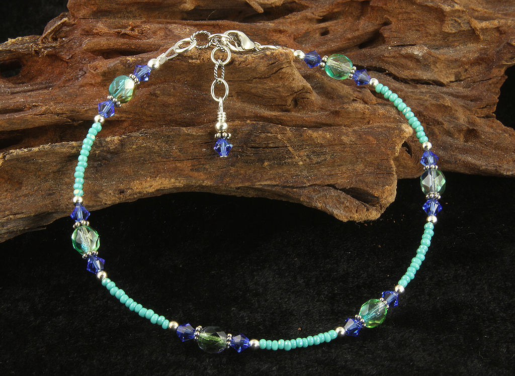 Turquoise Sapphire Blue Beaded Anklet