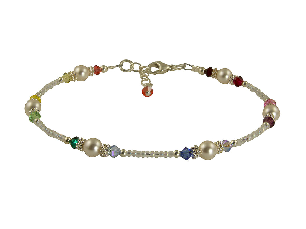 White Rainbow Crystal Beaded Anklet