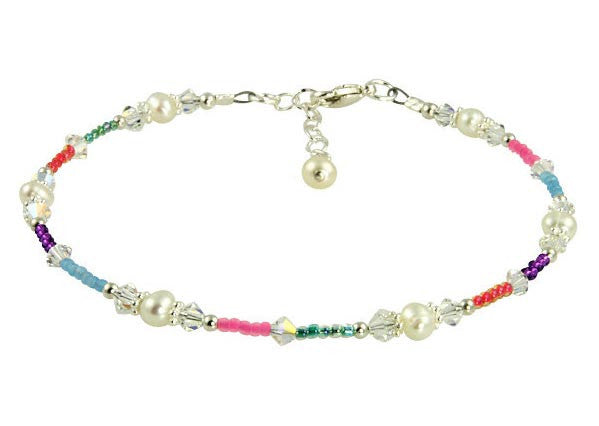 Colorful Pearl Crystal Beaded Anklet - SWCreations