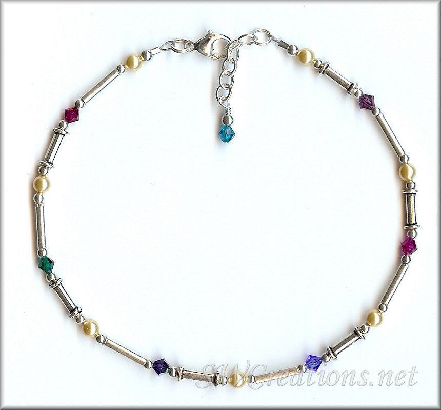 Silver Gold Pearl Crystal Anklet - SWCreations