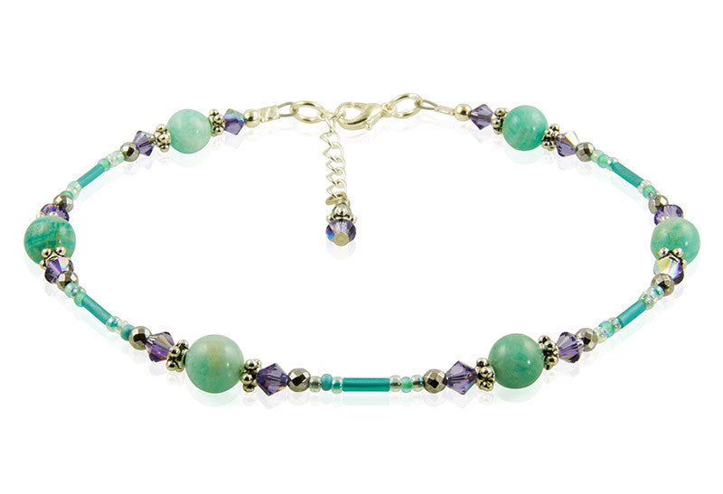 Tanzanite Green Jade Gemstone Anklet - SWCreations