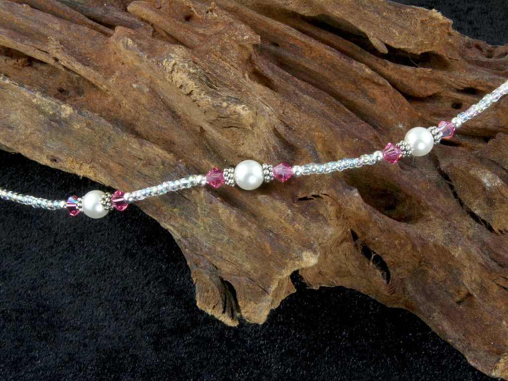 razzle dazzle pink pearl sterling anklet