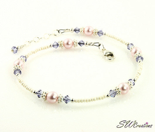 Tanzanite Pink Pearl Crystal Beaded Anklet - SWCreations