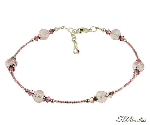 Czech Pink Rose Crystal Beaded Anklet - SWCreations