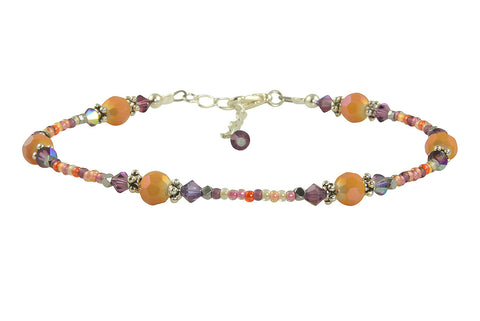 Tanzanite Peach Glass Beaded Anklet