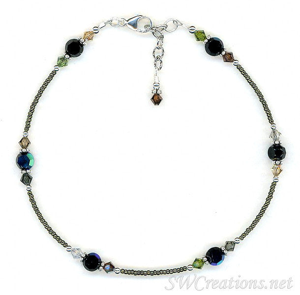 Earth Crystal Jet Beaded Anklet - SWCreations