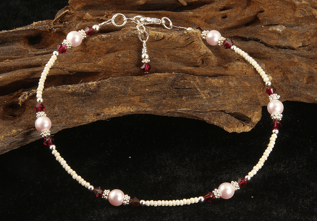 Ruby Pink Pearl Beaded Anklet