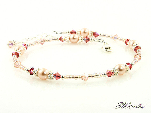 Peach Hibiscus Pearl Crystal Anklet - SWCreations